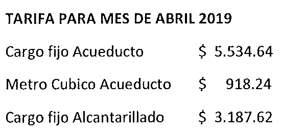 Tarifas ABRIL 2019